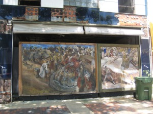 Prior to current revitalization efforts, many of Montgomery's abandoned storefronts sported murals by a local painter with an affinity for gory Biblical imagery