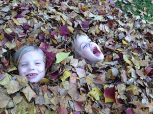 And what's more fun to play in than a pile of leaves?